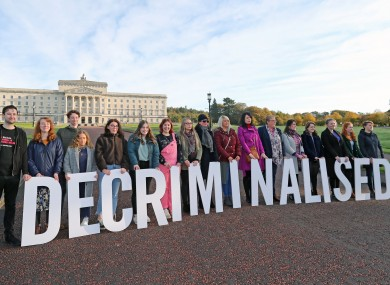 Pro-choice activists gather outside Stormont.