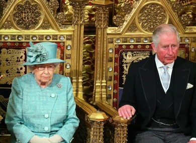 Queen Elizabeth II and Prince Charles at the ceremony today.