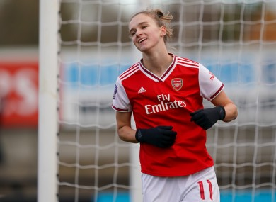 Vivianne Miedema of Arsenal celebrates the first of her two hat-tricks.