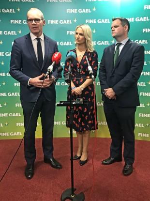 Tánaiste Simon Coveney, European Affairs Minister Helen McEntee and Fine Gael spokesman on EU Affairs Senator Neale Richmond.