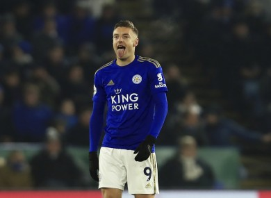 Jamie Vardy celebrates after converting his penalty.