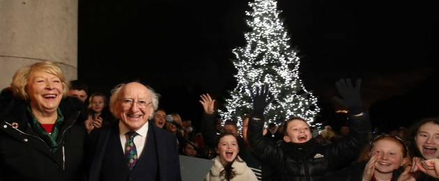 President Higgins turns on the Christmas lights at Áras an Uachtaráin.