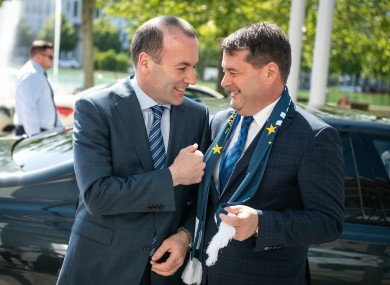 EPP's Manfred Weber and Dara Murphy earlier this year in Munich.