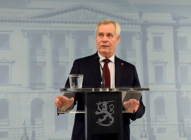 Prime Minister Antti Rinne speaking at a press conference after resigning today