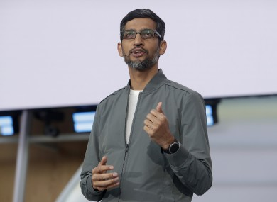 Sundar Pichai giving the keynote address at the Google I/O conference in Mountain View, California, in May.