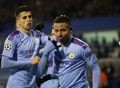 Gabriel Jesus celebrating one of his three goals last night.