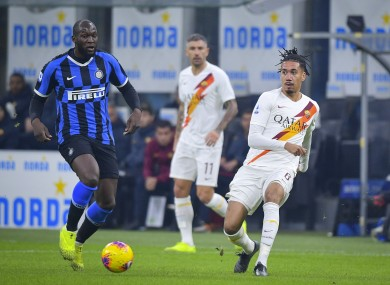 Inter's Romelu Lukaku in action against Chris Smalling of Roma.