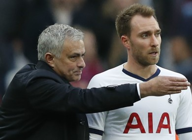 Jose Mourinho speaks to Christian Eriksen.