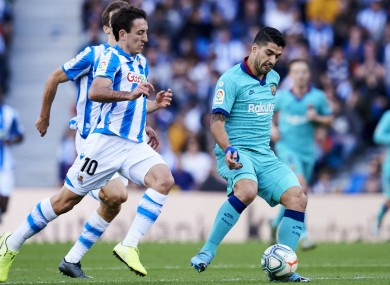 Luis Suarez in action against Real Sociedad.
