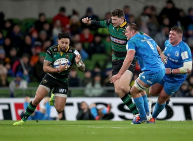 Matt Proctor in possession for Northampton Saints during their defeat to Leinster last weekend.