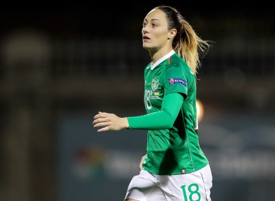 Megan Campbell pictured playing for Ireland against Ukraine earlier this year.