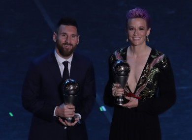 Lionel Messi and Megan Rapinoe at FIFA's The Best awards