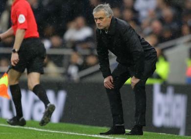 Jose Mourinho watches on as Tottenham take on Brighton.