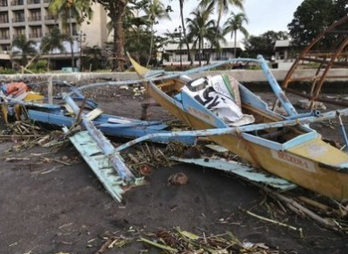 A boat damaged by the typhoon in Ormoc City, central Philippines.