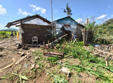 Homes damaged by Typhoon Phanfone at Batad Town, Iloilo province, central Philippines