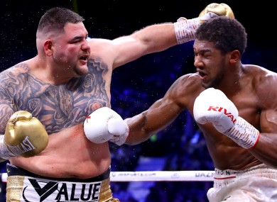 Andy Ruiz in action against Anthony Joshua