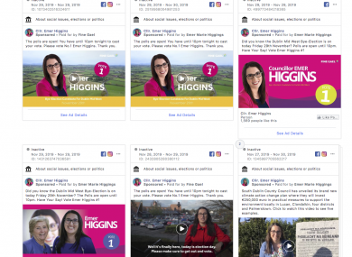 Fine Gael spent the most money on Facebook advertising.