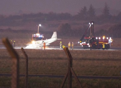 Airport fire and rescue crews responding to the incident at Shannon Airport this evening