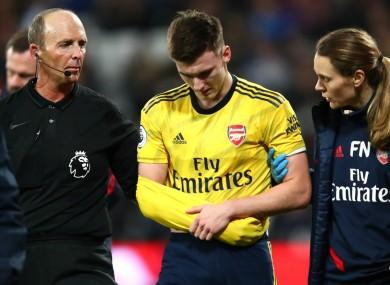 Kieran Tierney was injured against West Ham.