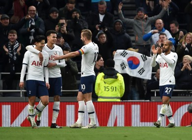Tottenham players celebrate.