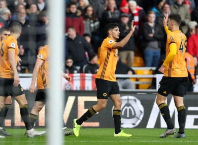 Wolves celebrate Doherty's (out of shot) equaliser.