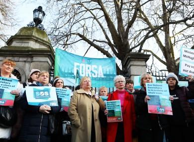 School secretaries outside Leinster House  in January