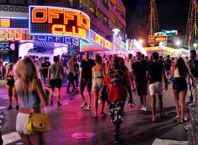 A view of Punta Ballena, the main club strip in Magaluf, Majorca, Spain.