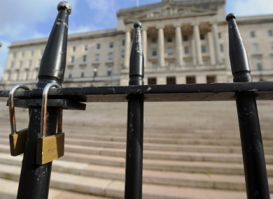 File photo of locked gates at Stormont in Belfast.