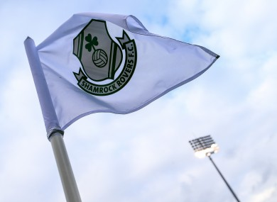 A view of a corner flag at Rovers' Tallaght Stadium.