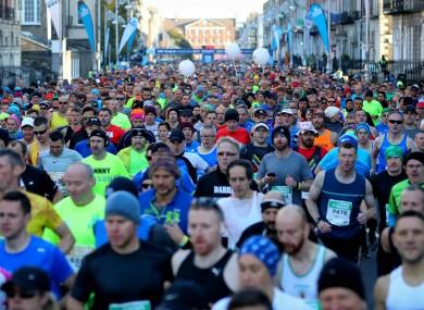 Marathon runners on Fitzwilliam Place last year.