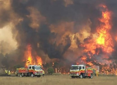 Firefighters trying to protect homes around Charmhaven, New South Wales.