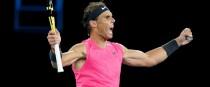 Nadal celebrates winning.