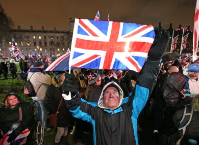 Pro-Brexit supporters in Parliament Square, London