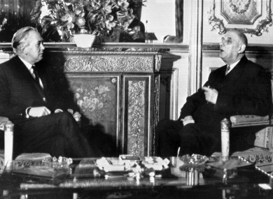 British PMHarold Wilson, left, meets with French President Charles de Gaulle at the Elysee Palace. Later that year, de Gaulle would veto Britain's efforts to join the-then EEC. After de Gaulle's death Britain eventually joined the EEC.