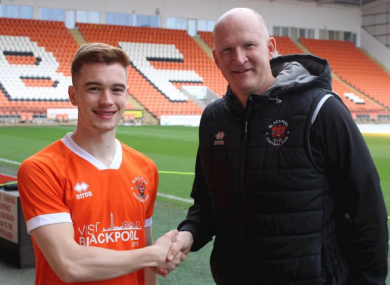 Connor Ronan with Seasiders manager Simon Grayson.