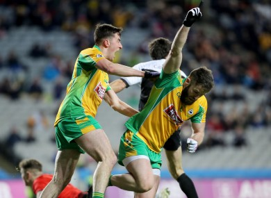 Corofin's Conor Cunningham celebrates scoring the game's only goal.