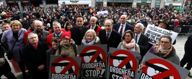 Lord Mayor of Drogheda Paul Bell with Labour Party leader Brendan Howlin and Fianna Fail leader Micheal Martin and Taoiseach Leo Varadkar and Fergus O Dowd at a St Peter's Church after protest against violence in Drogheda.
