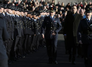 Garda Commissioner Drew Harris with Taoiseach Leo Varadkar at the Passing Out ceremony at Garda College, Templemore, Co. Tipperary. November 2019.