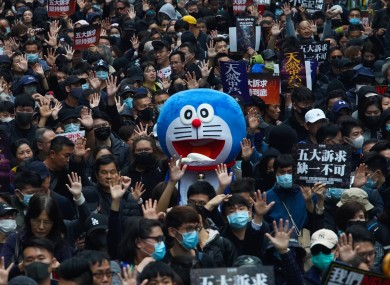 A huge pro-democracy march in Hong Kong today.