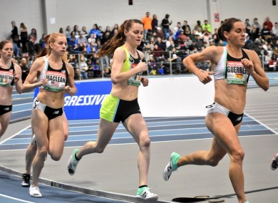 Ciara Mageean en route to setting a new 1500m national indoor record in Boston.
