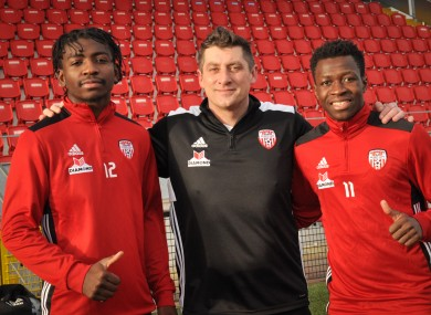 Declan Devine with  Danny Lupano (left) and Moussa Bakayoko (right.)