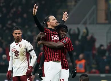 Zlatan Ibrahimovic celebrates after his extra-time goal for AC Milan.