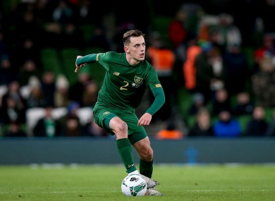 Lee O'Connor in possession for Ireland during his senior international debut against New Zealand in November.