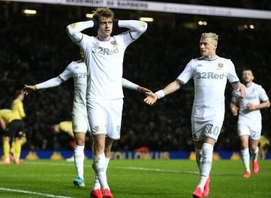 Patrick Bamford celebrates scoring for Leeds.