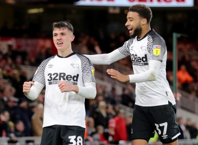 Jason Knight is congratulated by Jayden Bogle after scoring for Derby County against Middlesbrough.