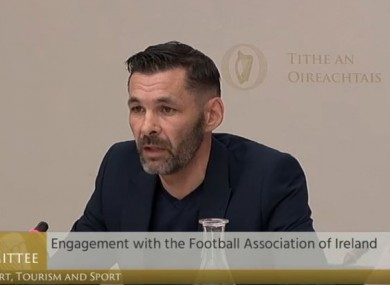 O'Brien speaking at a recent Oireachtas committee hearing over matters related to the FAI.