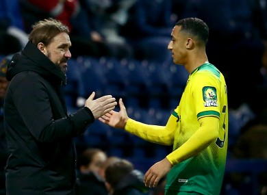 Norwich City manager Daniel Farke pictured with Adam Idah during last weekend's win against Preston North End.
