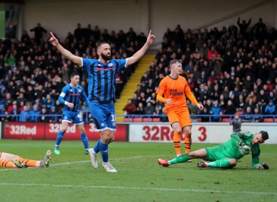 Rochdale's Aaron Wilbraham celebrates his goal against Newcastle.