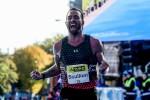Stephen Scullion celebrates his second-placed finish at the 2019 KBC Dublin Marathon.