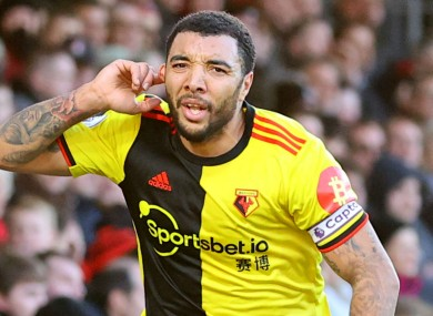 Troy Deeney celebrates Watford's second goal.